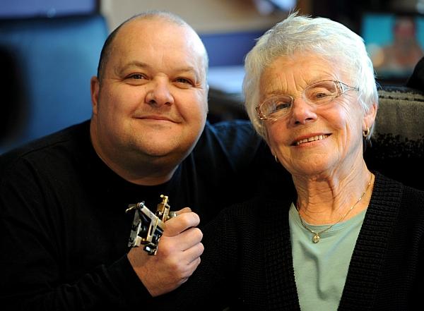 Renee Parker, 83, with her tattooist Trevor Rodd
