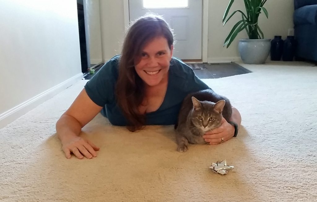 Beth Tivol with Charlie the two year old tabby.