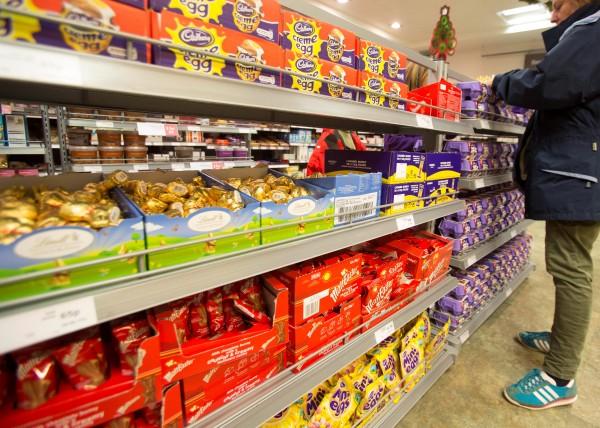Easter eggs on the shelves of Waitrose