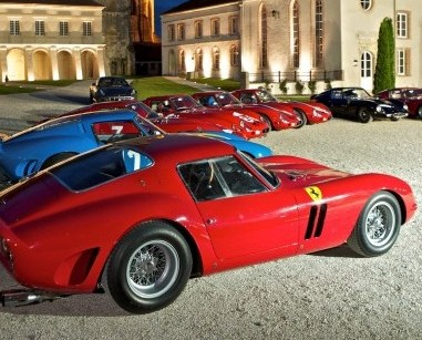 The value of classic cars like these Ferrari 250 GTOs has soared by 400 per cent