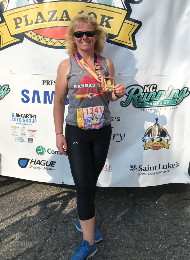 Char Norman pictured after her weightloss and after completing a 10k run.
