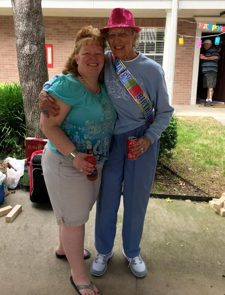 Char Norman (left) pictured in April 2016 with her grandmother before her weightloss.