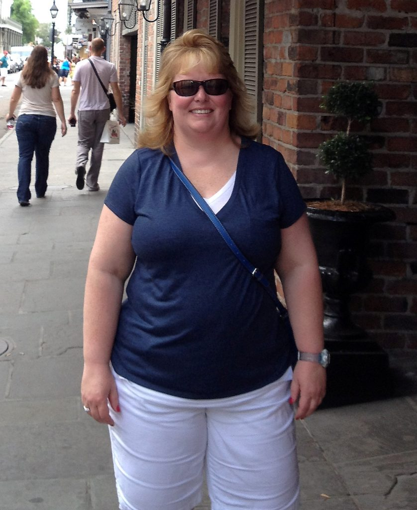 Char Norman pictured on holiday in New Orleans before her weightloss.