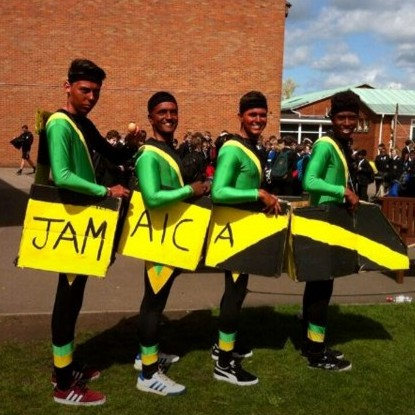 The picture of the pupils 'blacked up' as the Jamaican bobsleigh team