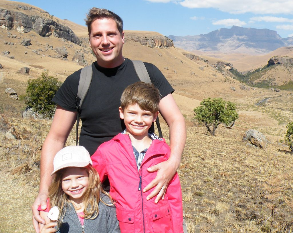 Tristan Walters with children Billy and Phoebe in South Africa.