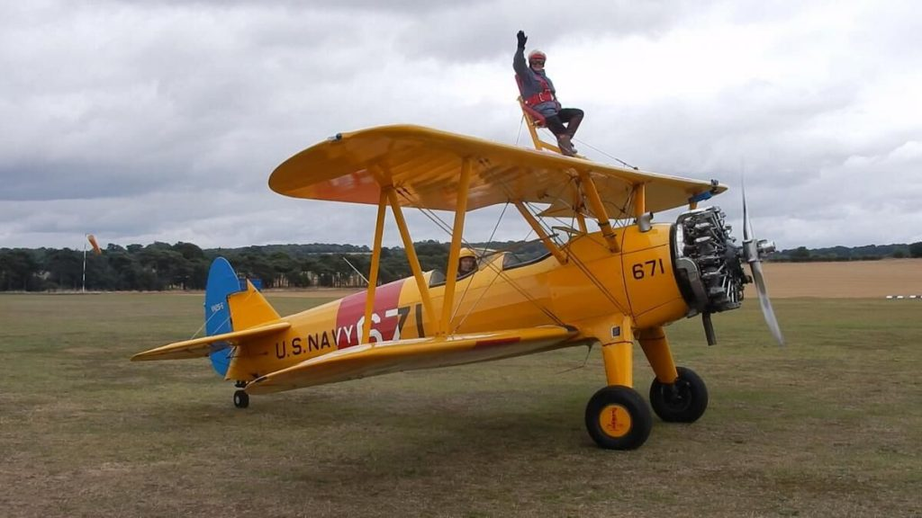 Trish Wagstaff, 85 doing a wing walk.