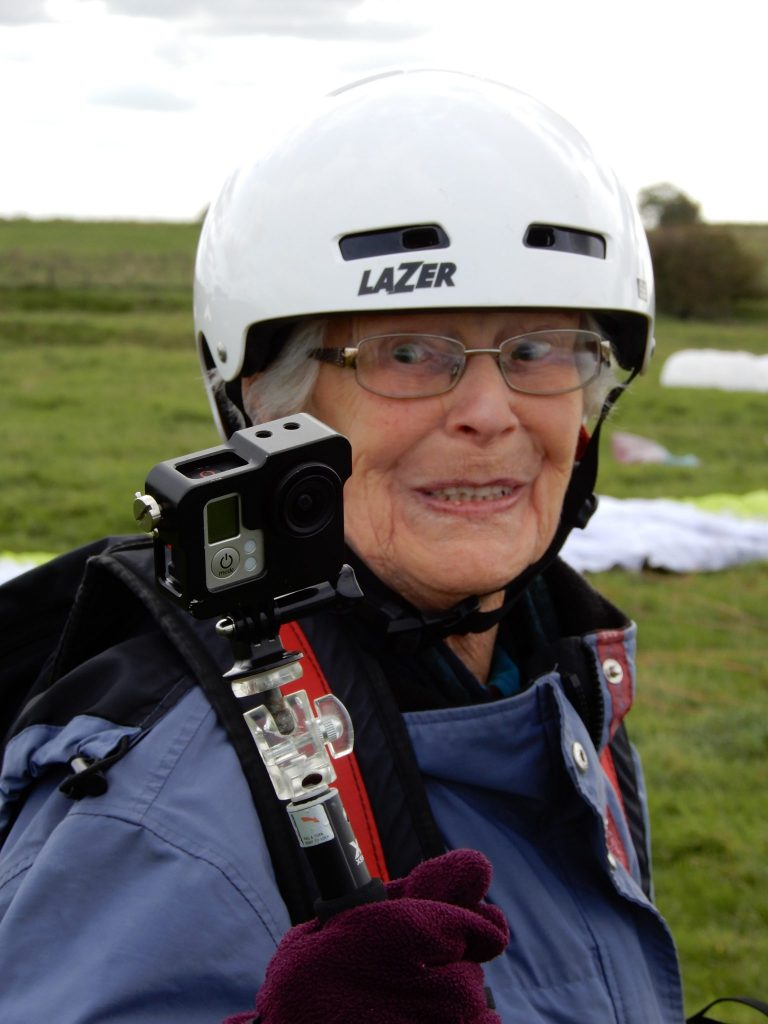 Trish Wagstaff, 85 doing paragliding.