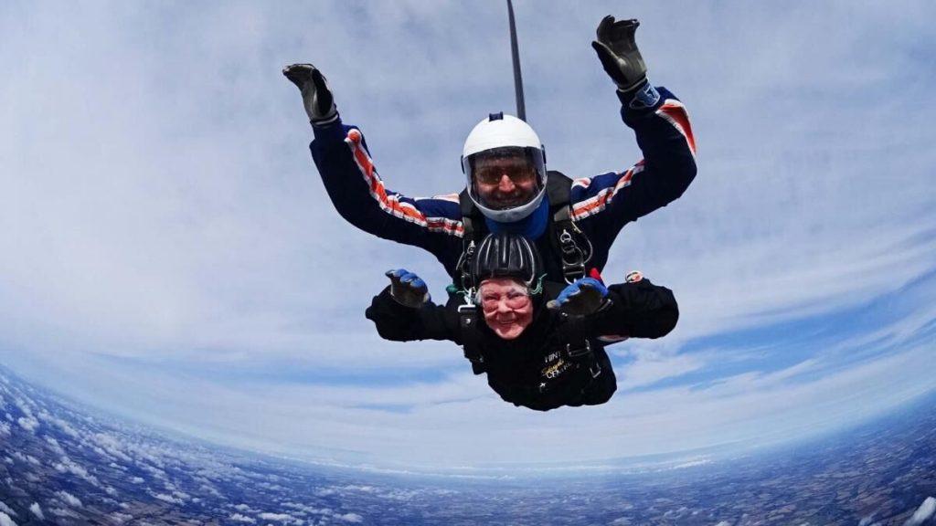 Trish Wagstaff, 85 doing skydiving.