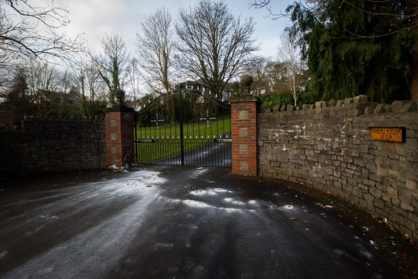 White paint covers the drive of Shrien Dewani's family home in Bristol after it was attacked by vandals