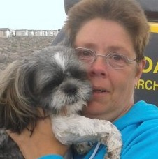 Jackie Guest is re-united with her tiny Shih Tzu