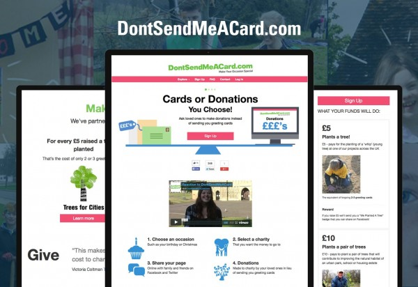 The website DontSendMeACard.com allows users to donate to charity instead of sending greeting cards