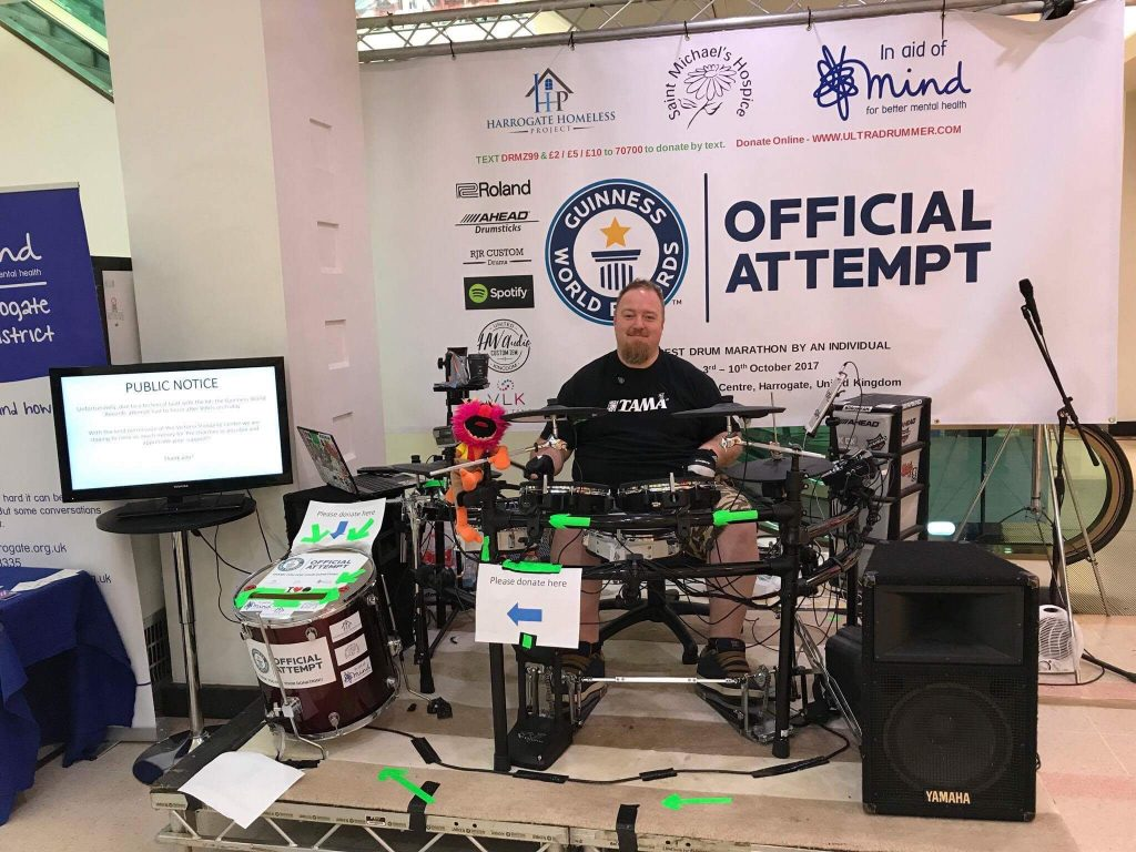Heartbreak as man's drum kit breaks 90 hours into a world record attempt for continuous drumming.