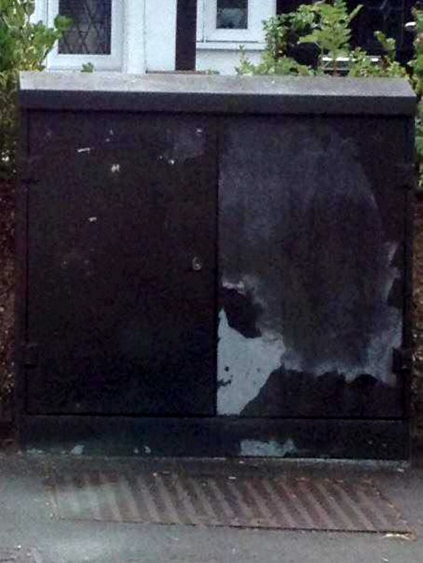 The face of Bob Dylan on the metal box