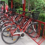The Ferrari bicycles which staff ride around the huge factory