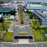 An aerial view of the Ferrari factory in Maranello, Italy