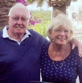 Bob and Pat Banks pictured on their holiday in Spain after they took a ferry to Cornwall rather than the ferry to Spain when they followed their satnav