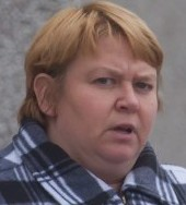 Chubby bully Fiona Salmon, leaving Truro Crown Court.