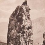 Climbers tackle a difficult ascent in North Wales in a collotype plate from Ashley Abraham's Rock-Climbing in North Wales, 1906, which is up for auction at Dominic Winter, Cirencester, Gloucestershire.