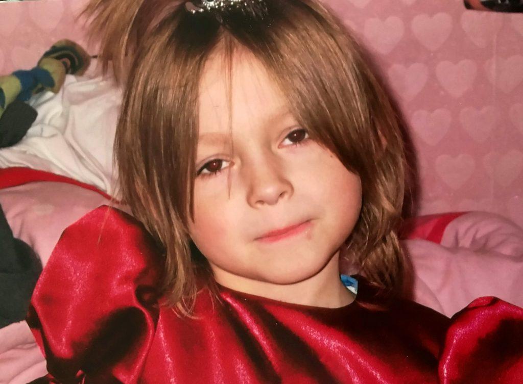 Kian dressed as princess.