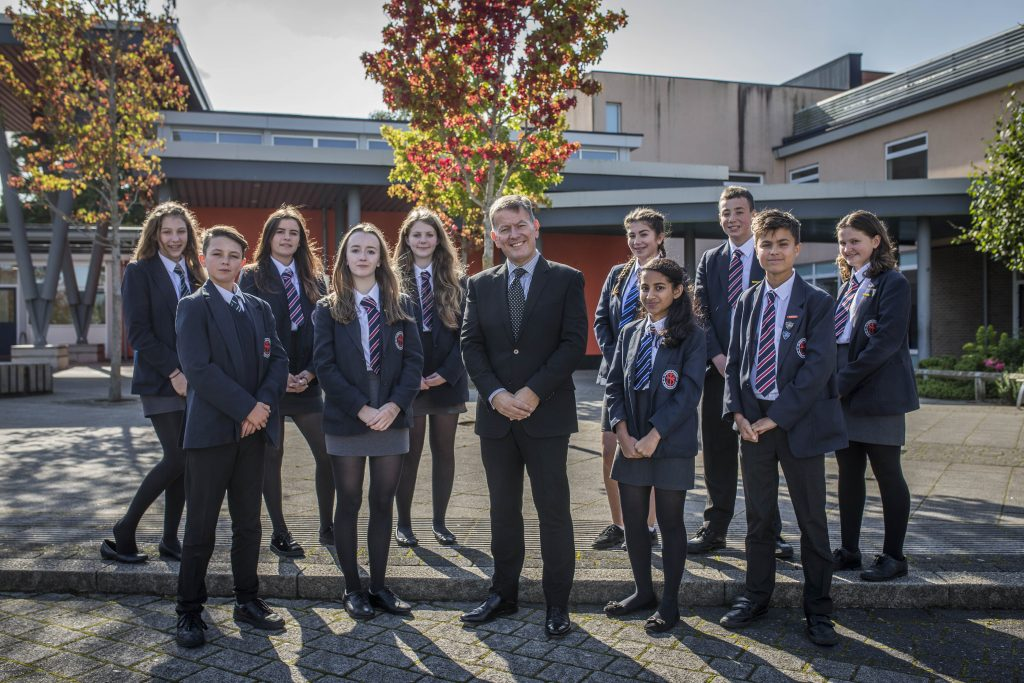 The high achieving students with new head teacher Gary Maher at St Bede's Catholic College, Bristol.
