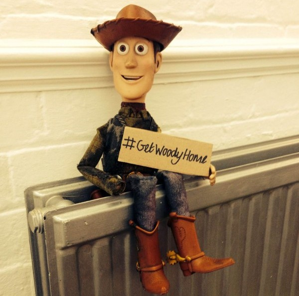 The Woody the cowboy doll found at the side of the road which has sparked an Internet campaign to find the owner