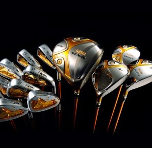 The gold-plated set of clubs which on sale for a staggering £50,000
