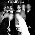 Members of the drugs gang posing for a 'Goodfellas' style film photo