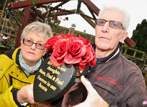 Terry and Joy Cole with their granite memorial