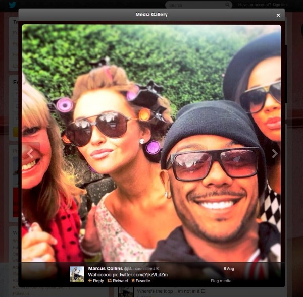 A photo tweeted by Marcus Collins on the day he was expected to be performing in a muscial in Bristol