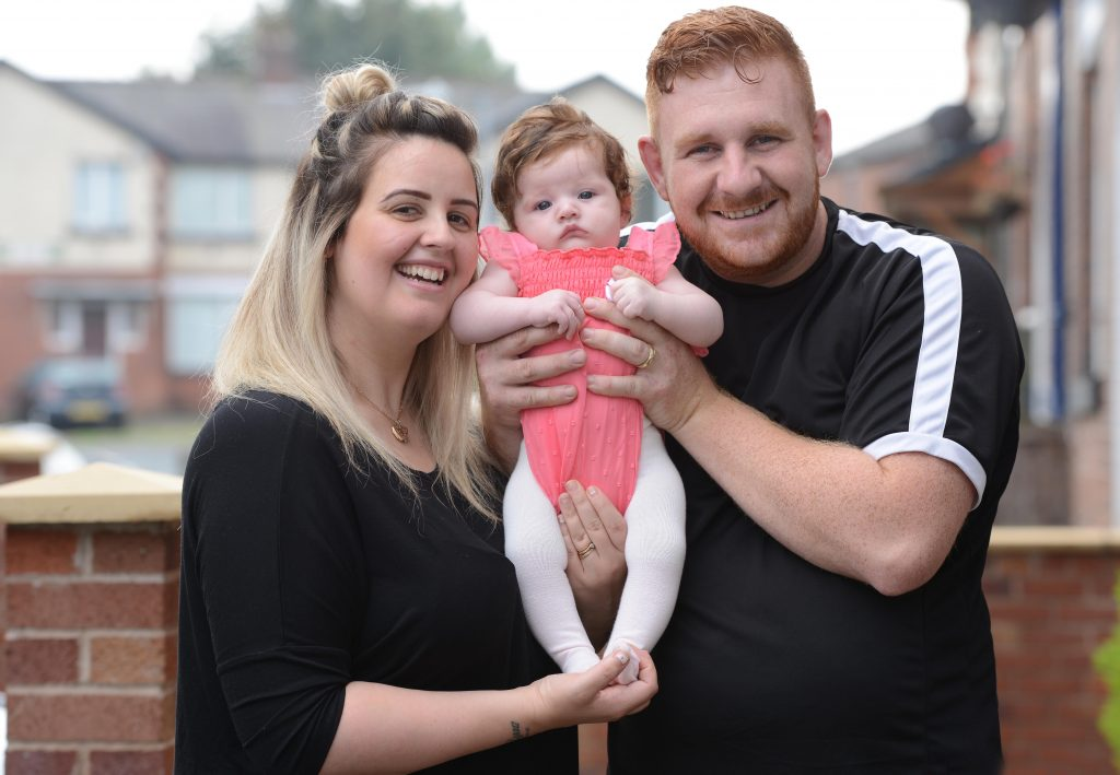 Jennifer and Kurtis Masters with their baby daughter Pixie Rose Masters all from Farnworth, Lancs., Pixie was born with a thick mop of hair to her parents surprise.