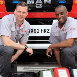 Lee Rogers, 37, and Glandel Thompson, 42, with the life saving equipment they used to save the pensioner