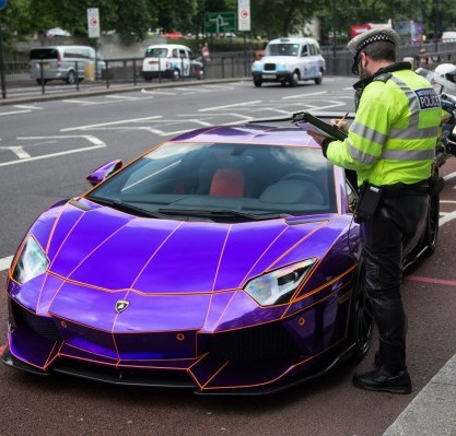 Cops swoop on this £350,000 Lamborghini which the Arab owner had left in a bus lane in central London