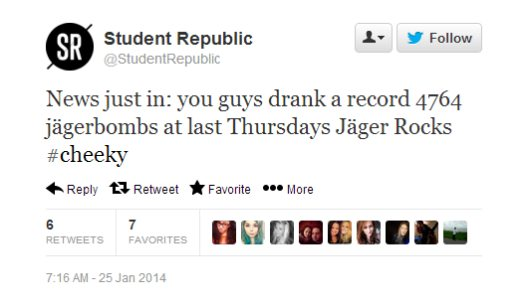 A tweet from the nightclub after students drank thousands of Jagerbombs