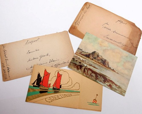 Four of the cards sent by Nazi soldiers on Jersey that have finally been delivered 71 years after they were posted