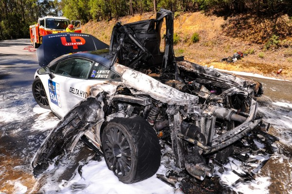 The remains of the Lamborghini after it caught fire while being raced at 110 mph
