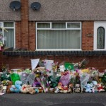 Flowers and teddies left near the scene of a tragic accident in which 26-month-old Levi Brailsford died.