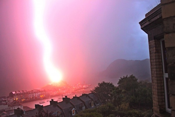 A freak bolt of lightning that struck the St Nicholas Chapel in Ilfracombe, Devon