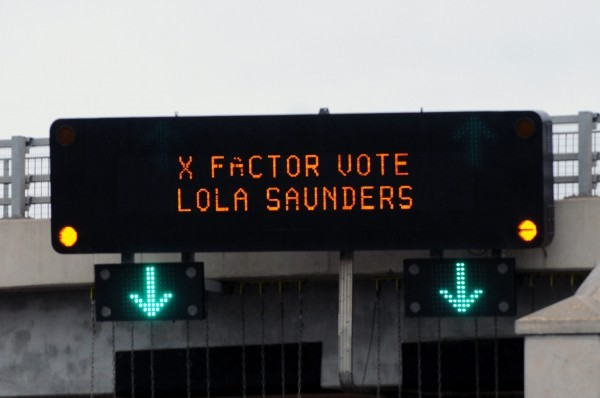Drivers heading through the Tyne Tunnels are being encouraged to support X factor contestant Lola Saunders