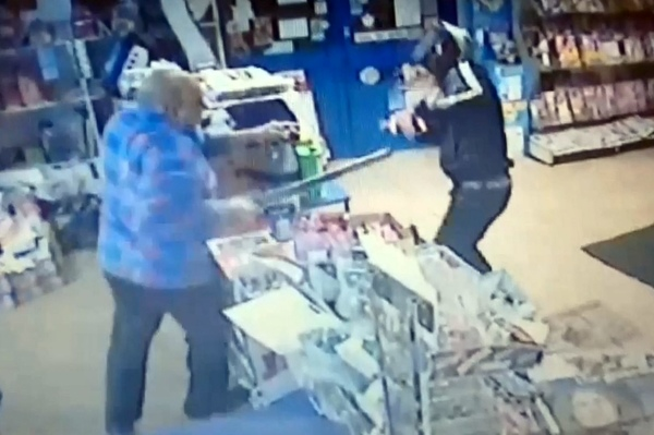 CCTV of Muhammed Maqsood fighting off a robber armed with a machete