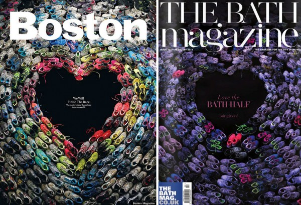 The front covers of the Boston magazine (left) commemorating the Boston marathon bombing and The Bath Magazine with an almost identical front page image promoting a fun run in the city