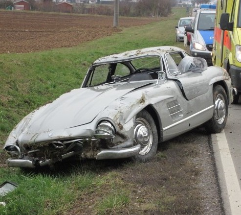 A young mechanic crashed this £700,000 Mercedes on a test drive
