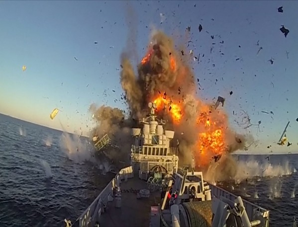 This is the dramatic moment the Norweigna navy blows up its own ship to demonstrate a powerful new missile