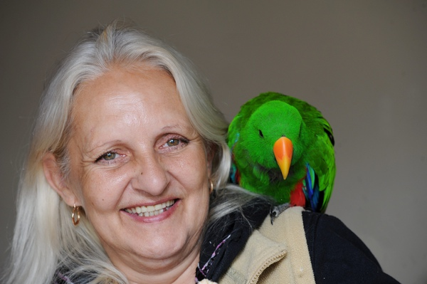 Bobby the parrot with owner Margitta Vilagiova after being reunited
