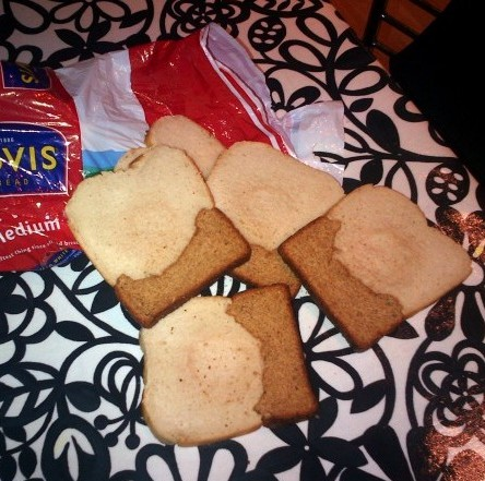 A family were stunned when they unwrapped this Hovis loaf - which had both white AND brown bread