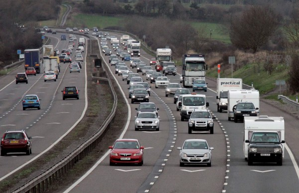 The motorist was caught shaving while on the M5 motorway, above