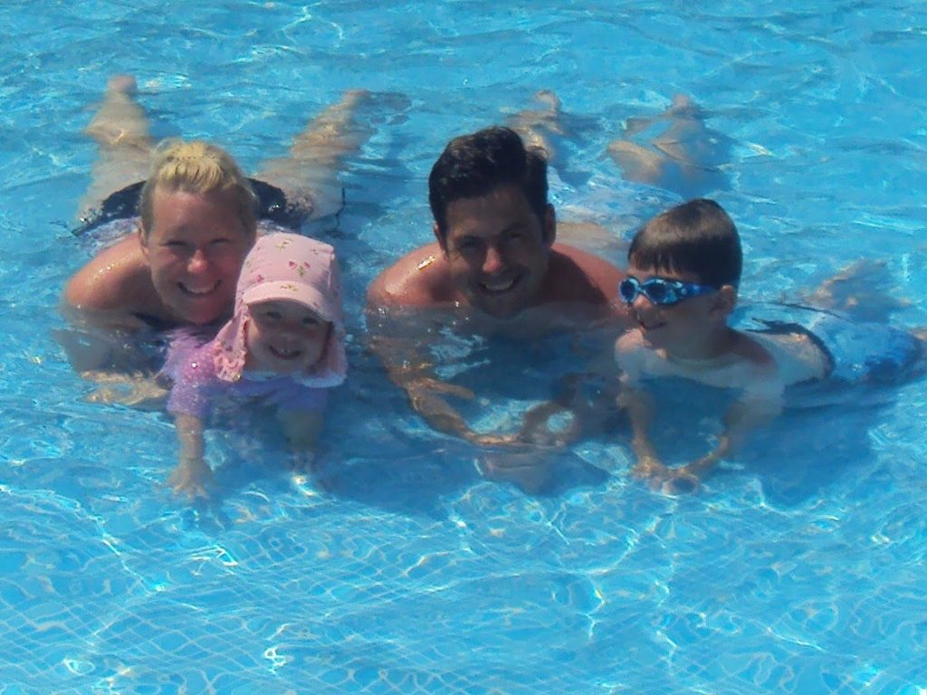 The Rasor family Mum Anna, dad Christopher, Jesse, 7 and Emmy,4, on holiday in Malaga in August 2017
