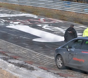 Officials feared the 'artwork' could put the high-speed motorists off so a specialist team spent 90 minutes treating the graffiti before re-opening the track to the public