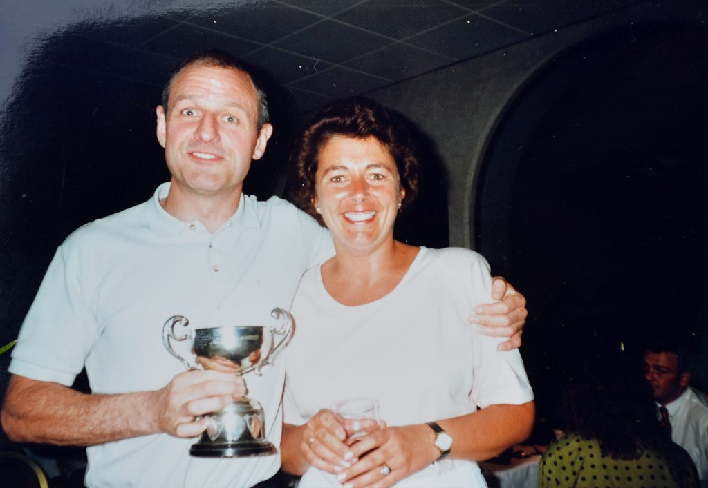 Stephen with his wife collecting a rugby award in 1989.