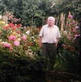 104 year old gardener Ralph Hoare in his garden. He has joined Twitter to share horticultural knowledge