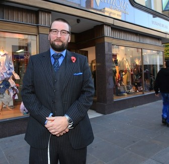 Richard Cole, 36, one of the owners of the of 'The Famous' clothes shop which is to close due to the recession